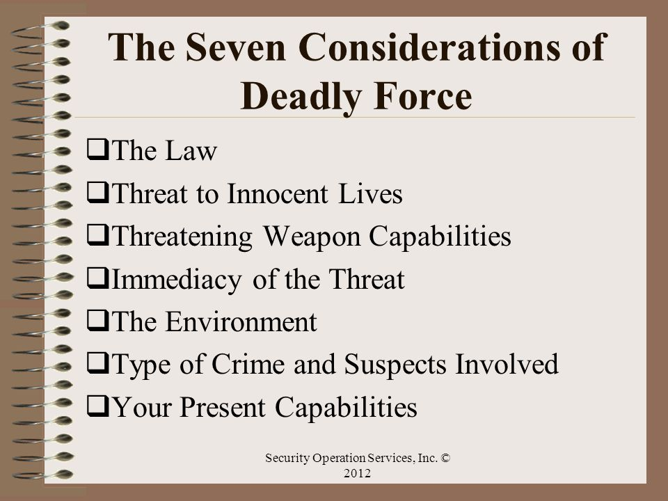 The Seven Considerations of Deadly Force