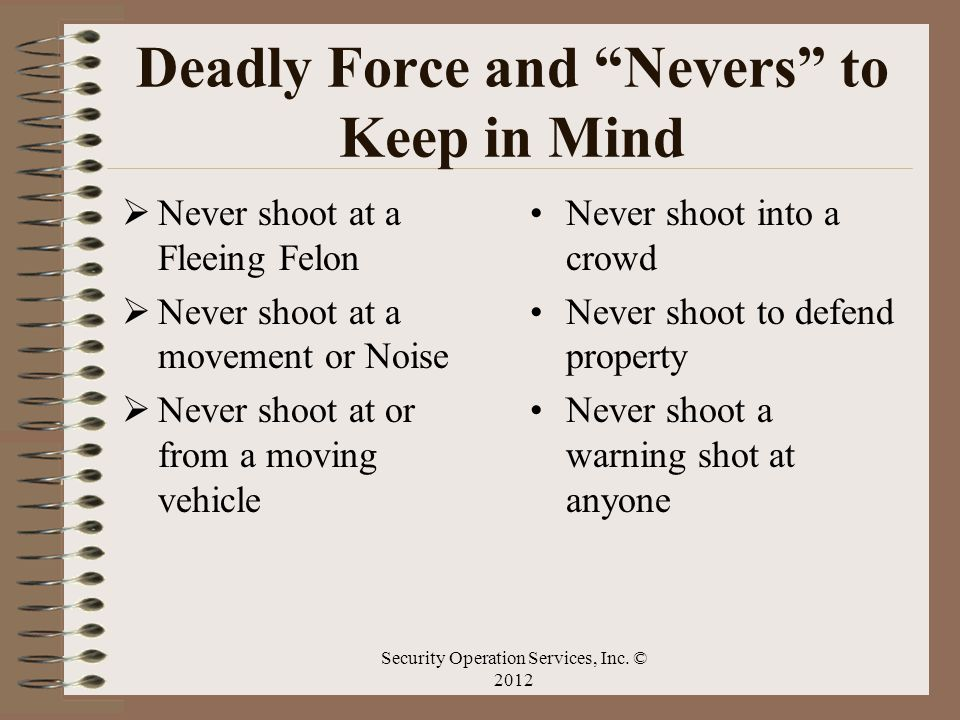 Deadly Force and Nevers to Keep in Mind