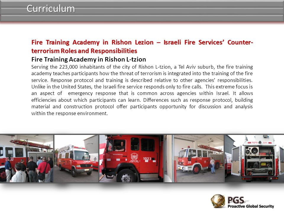 Curriculum Fire Training Academy in Rishon Lezion – Israeli Fire Services' Counter-terrorism Roles and Responsibilities.