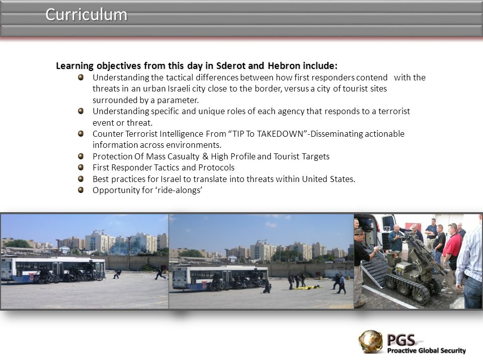 Curriculum Learning objectives from this day in Sderot and Hebron include: