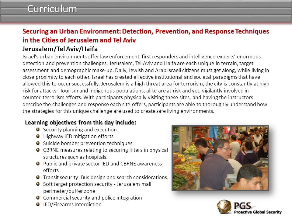 Curriculum Securing an Urban Environment: Detection, Prevention, and Response Techniques in the Cities of Jerusalem and Tel Aviv.