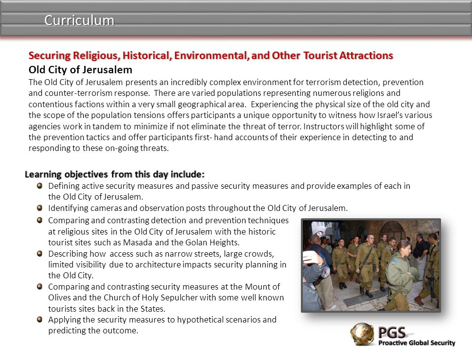 Curriculum Securing Religious, Historical, Environmental, and Other Tourist Attractions. Old City of Jerusalem.