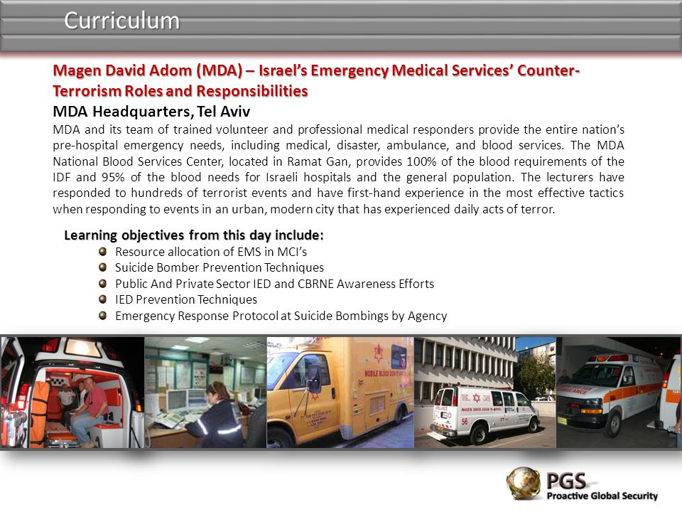 Curriculum Magen David Adom (MDA) – Israel's Emergency Medical Services' Counter-Terrorism Roles and Responsibilities.
