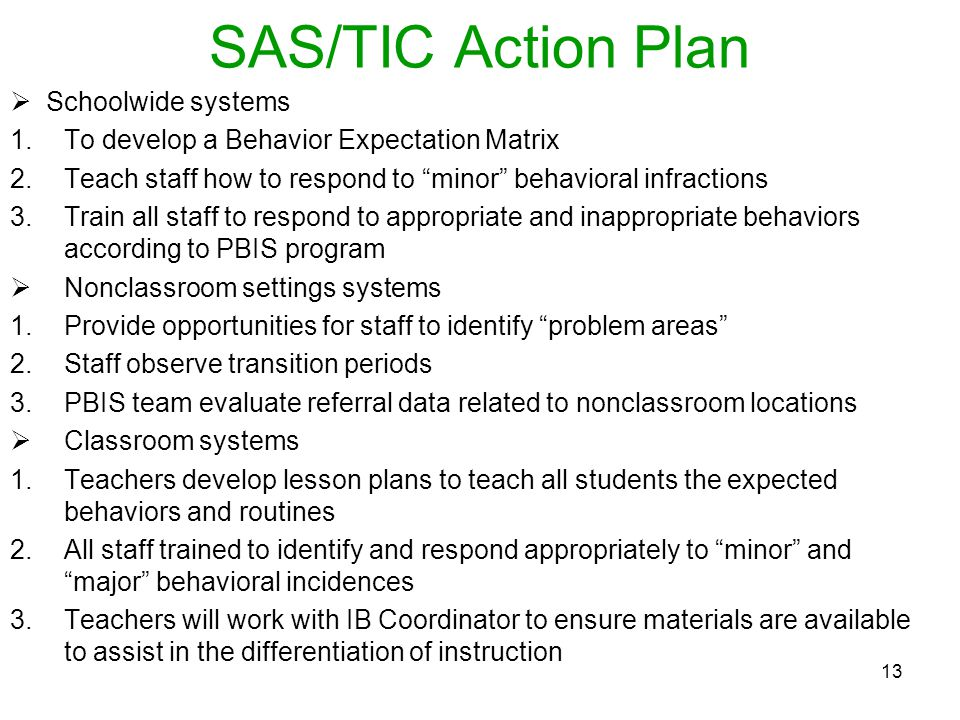 SAS/TIC Action Plan Schoolwide systems