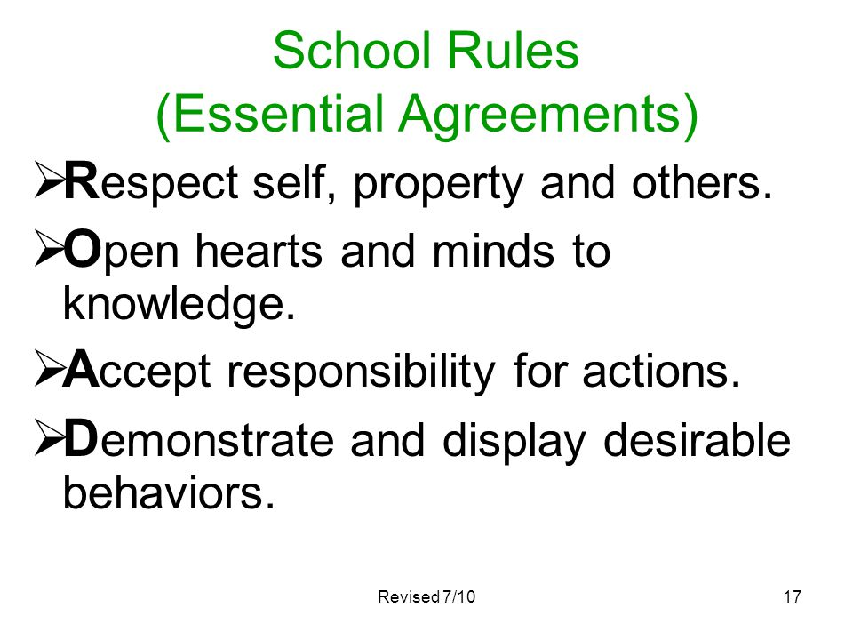 School Rules (Essential Agreements)