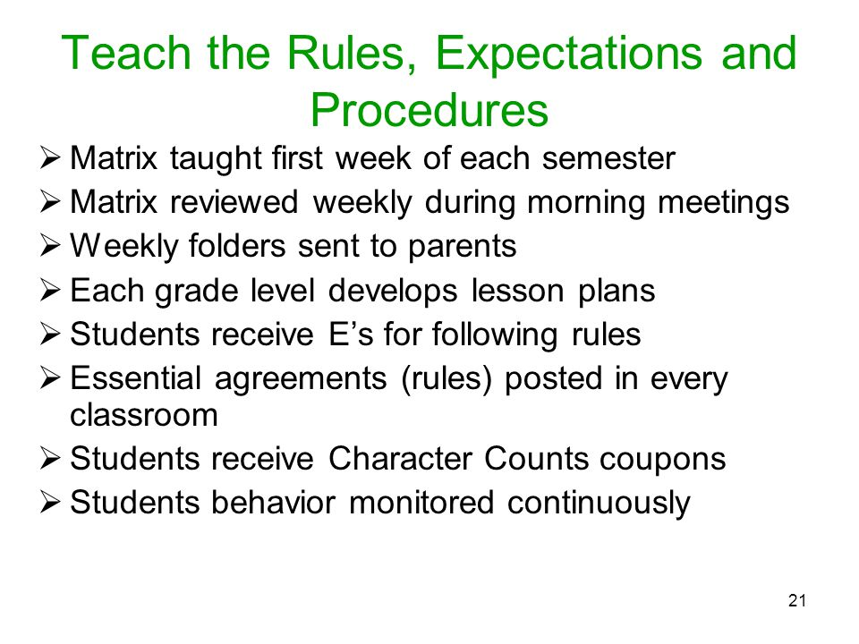 Teach the Rules, Expectations and Procedures