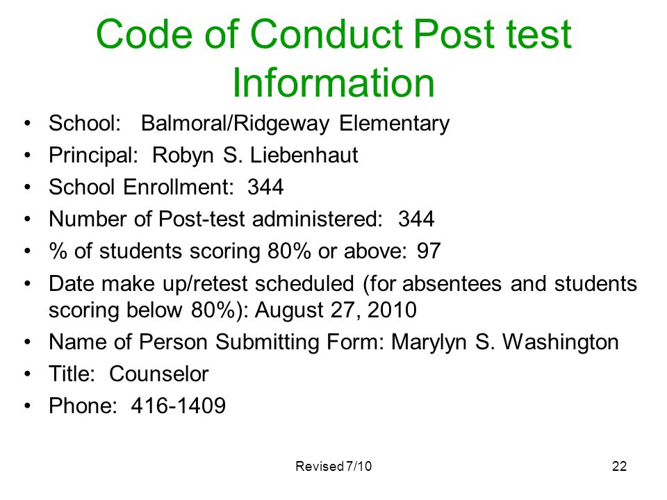 Code of Conduct Post test Information