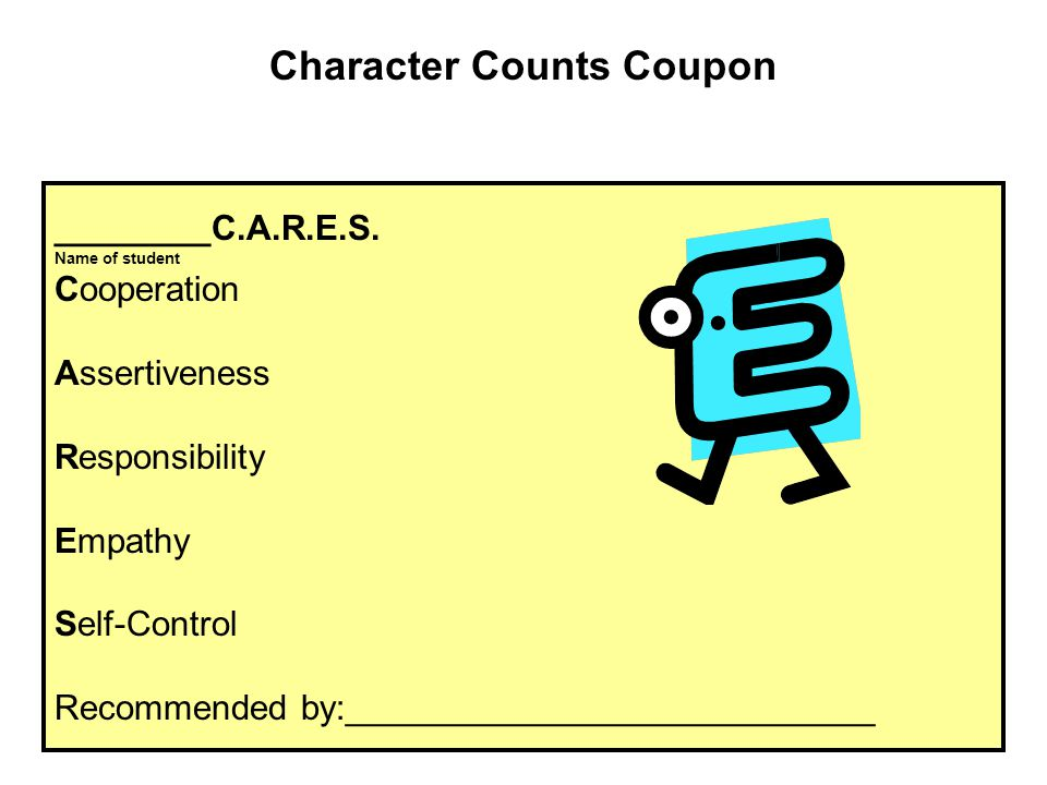 Character Counts Coupon