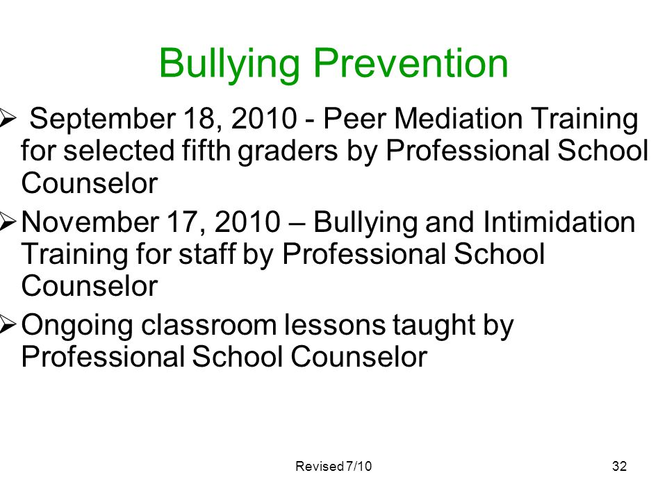 Bullying Prevention September 18, 2010 - Peer Mediation Training for selected fifth graders by Professional School Counselor.