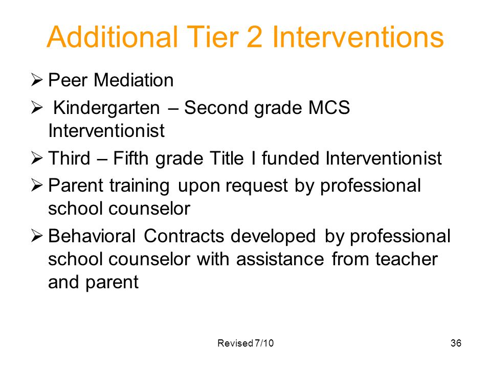 Additional Tier 2 Interventions