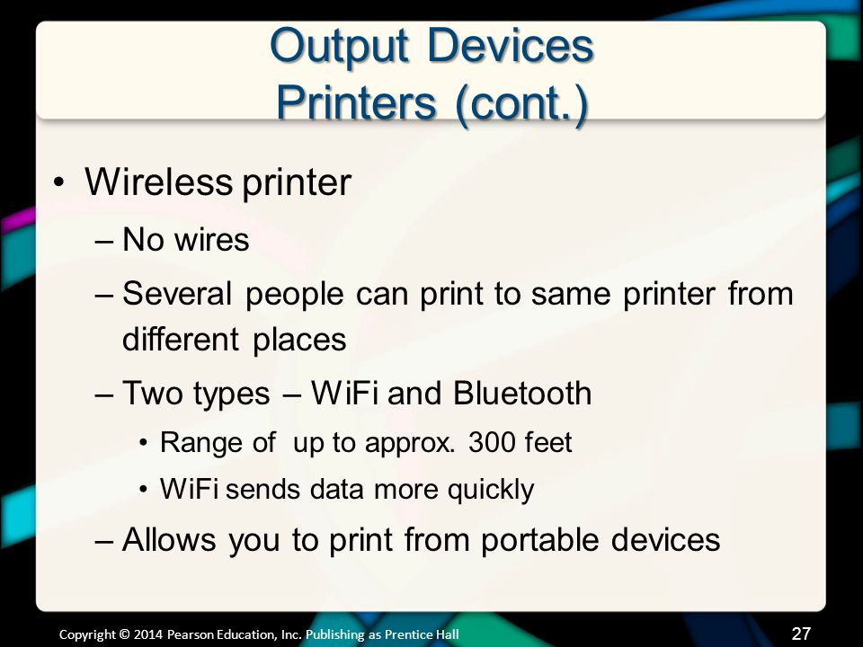 Output Devices Printers (cont.)