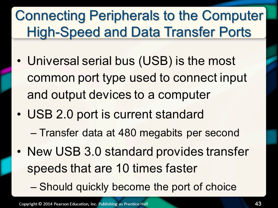 Connecting Peripherals to the Computer High-Speed and Data Transfer Ports (cont.)