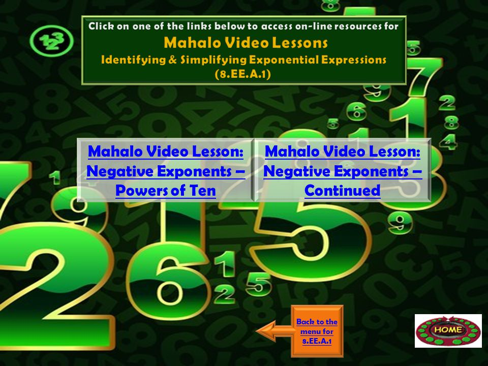 Mahalo Video Lesson: Negative Exponents – Powers of Ten