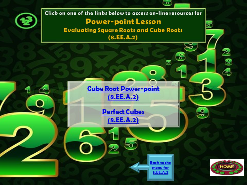 Power-point Lesson Cube Root Power-point (8.EE.A.2) Perfect Cubes