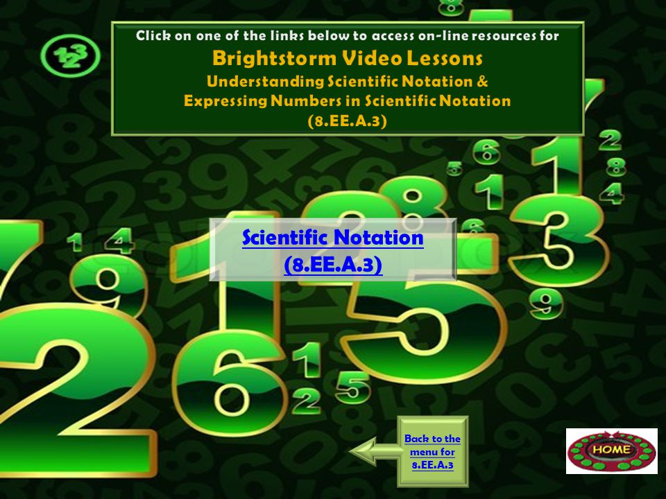 Brightstorm Video Lessons Scientific Notation (8.EE.A.3)