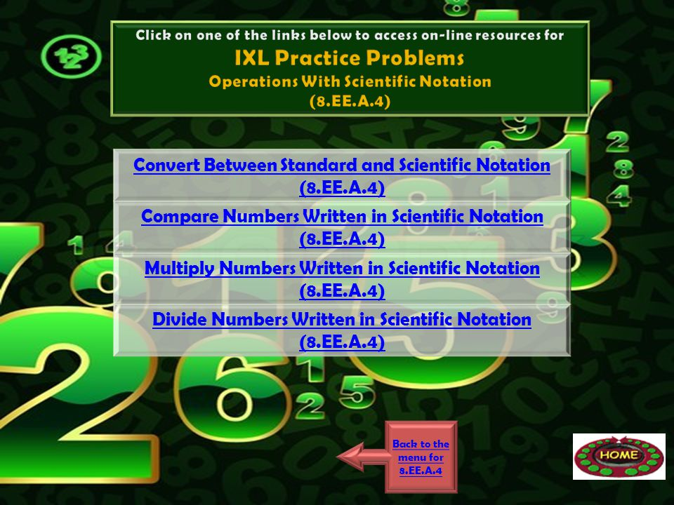 IXL Practice Problems Convert Between Standard and Scientific Notation