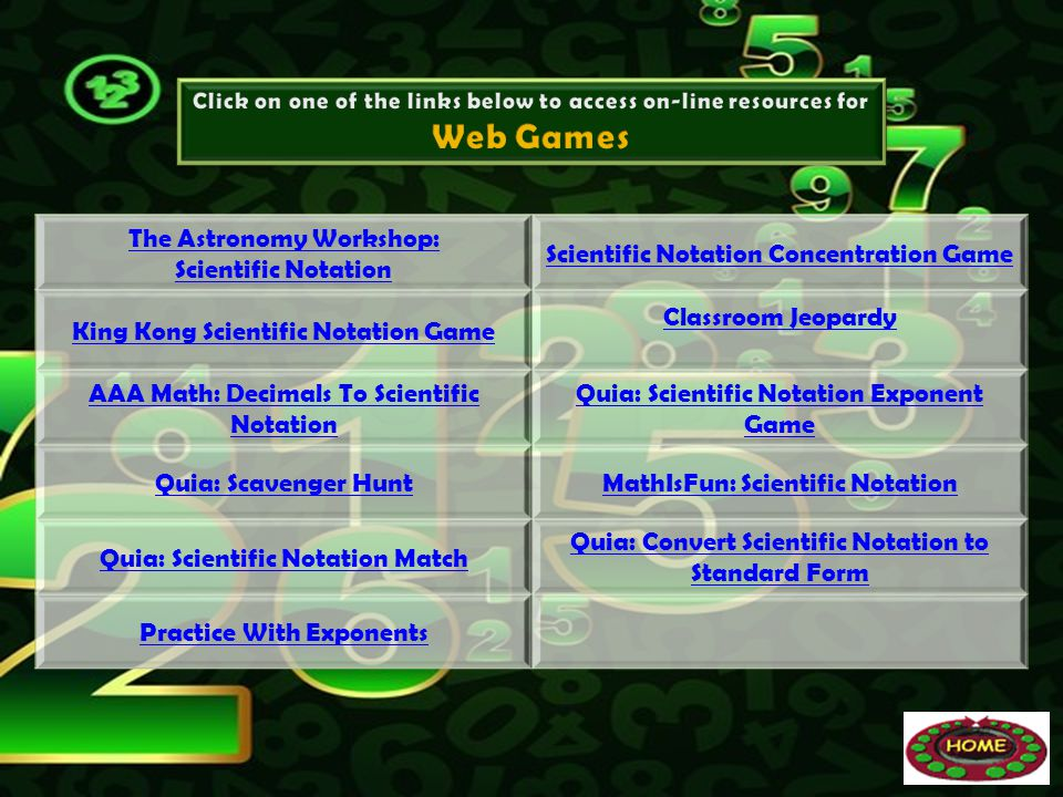 Web Games The Astronomy Workshop: Scientific Notation