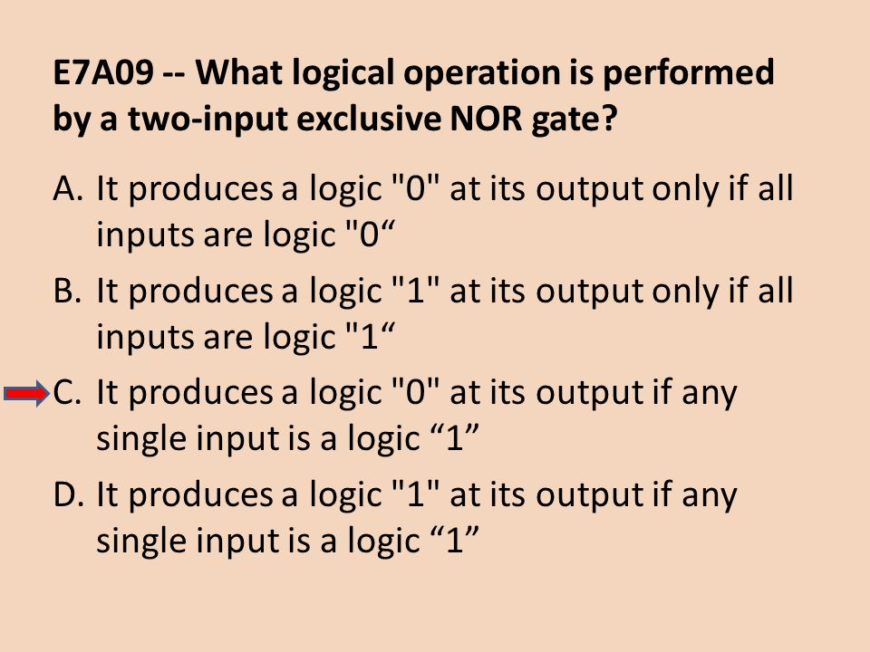 E7A09 -- What logical operation is performed by a two-input exclusive NOR gate