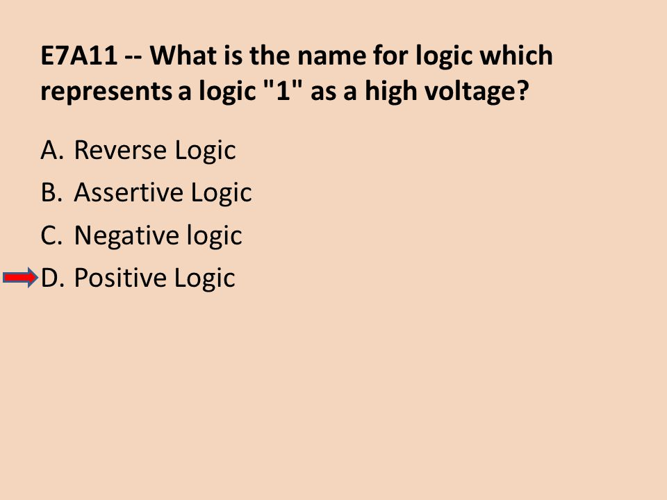 E7A11 -- What is the name for logic which represents a logic 1 as a high voltage