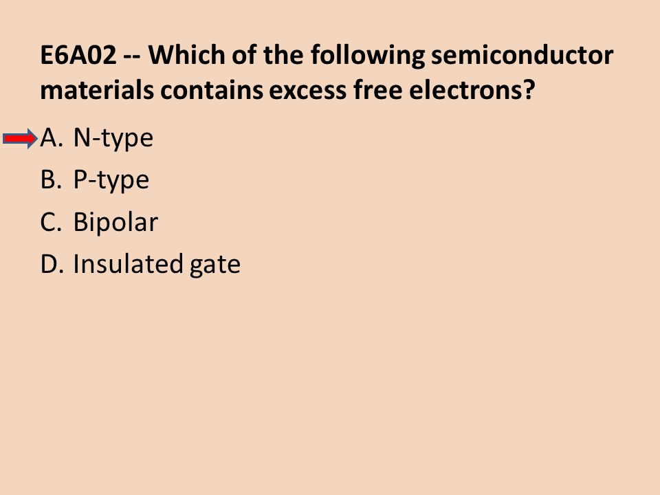 E6A02 -- Which of the following semiconductor materials contains excess free electrons