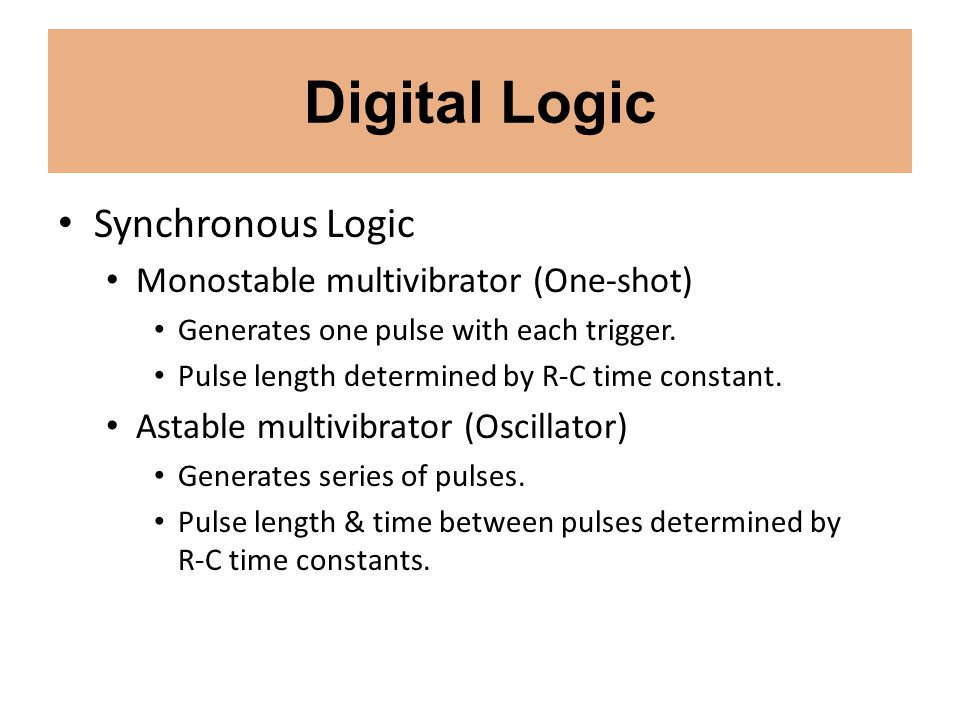 Digital Logic Synchronous Logic Monostable multivibrator (One-shot)