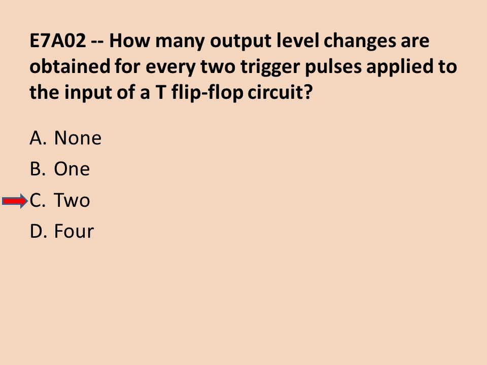 E7A02 -- How many output level changes are obtained for every two trigger pulses applied to the input of a T flip-flop circuit