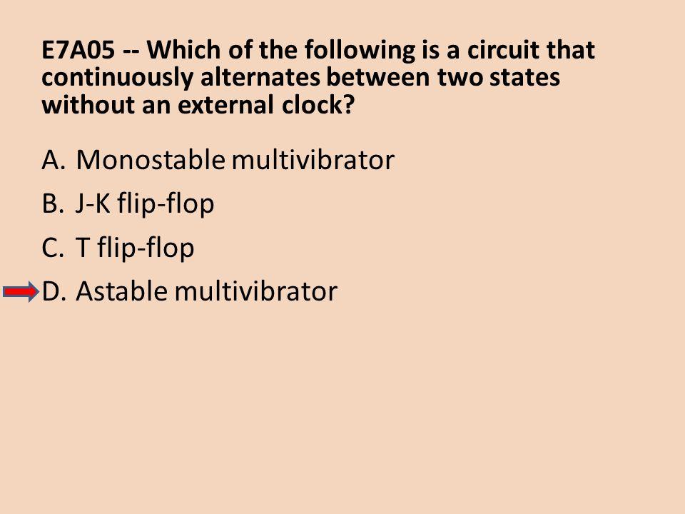 Monostable multivibrator J-K flip-flop T flip-flop