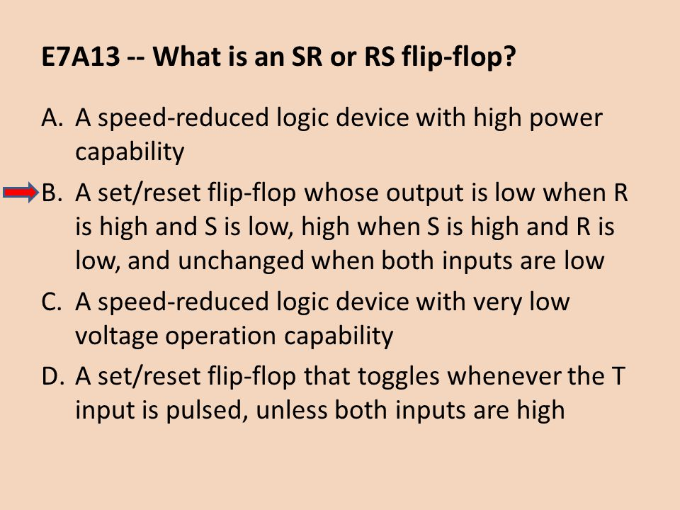 E7A13 -- What is an SR or RS flip-flop