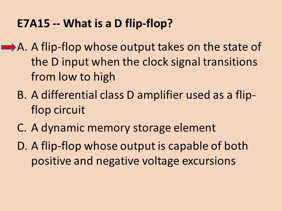 E7A15 -- What is a D flip-flop