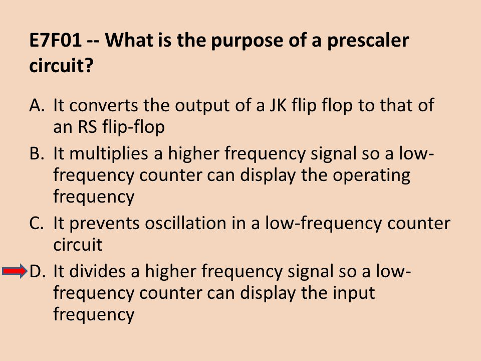 E7F01 -- What is the purpose of a prescaler circuit