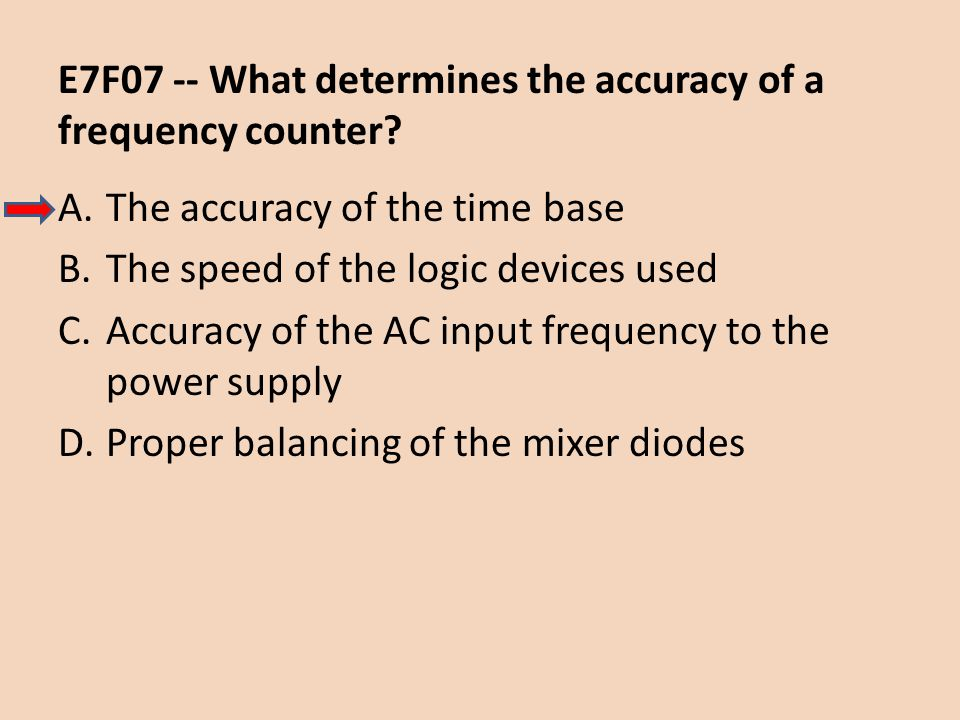 E7F07 -- What determines the accuracy of a frequency counter