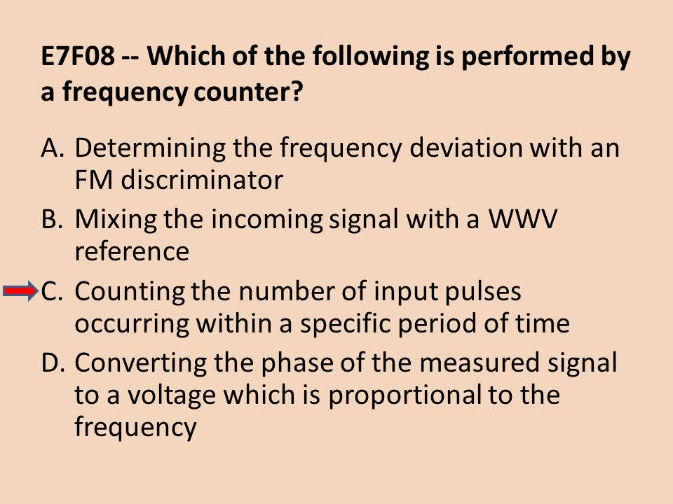 E7F08 -- Which of the following is performed by a frequency counter
