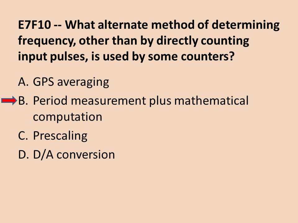 E7F10 -- What alternate method of determining frequency, other than by directly counting input pulses, is used by some counters