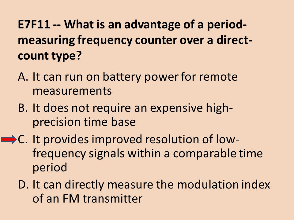 E7F11 -- What is an advantage of a period-measuring frequency counter over a direct-count type