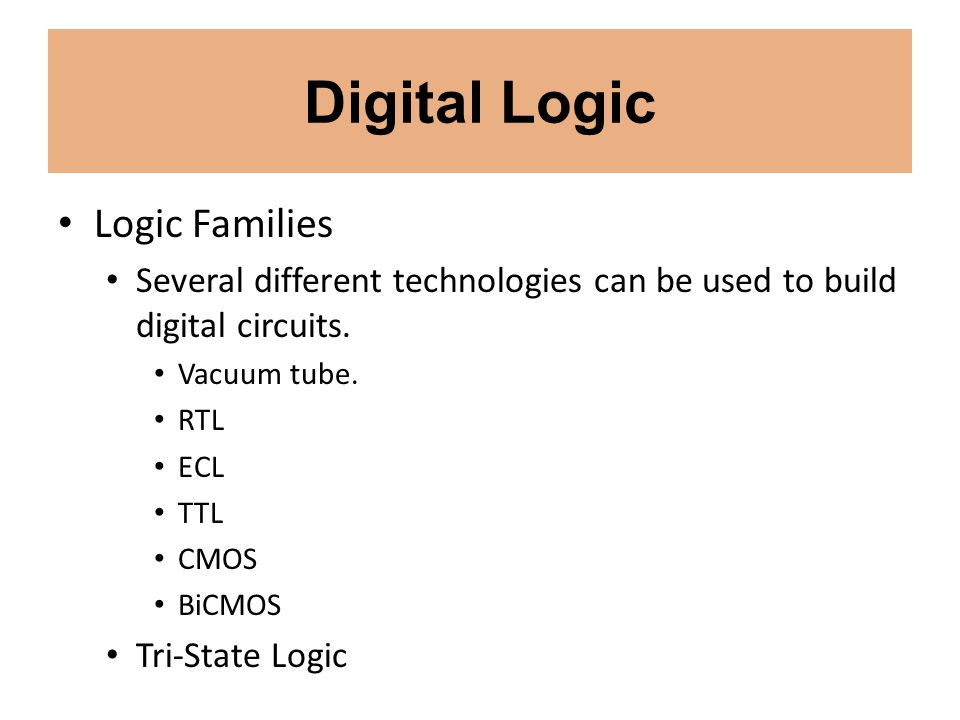 Digital Logic Logic Families