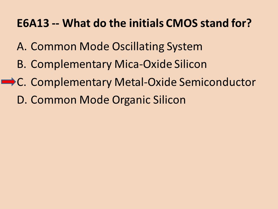 E6A13 -- What do the initials CMOS stand for