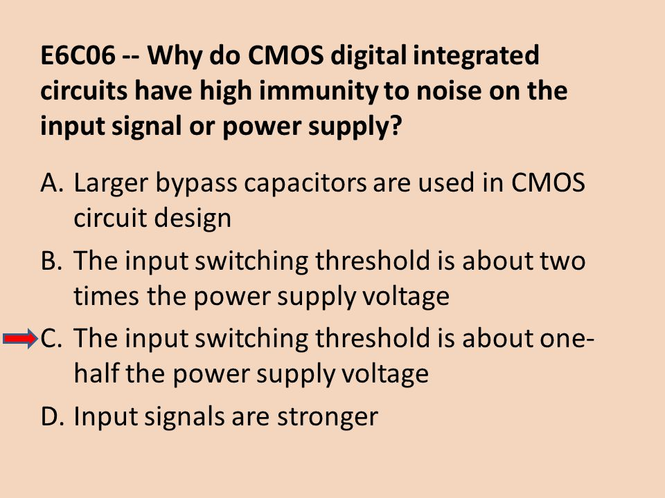 E6C06 -- Why do CMOS digital integrated circuits have high immunity to noise on the input signal or power supply