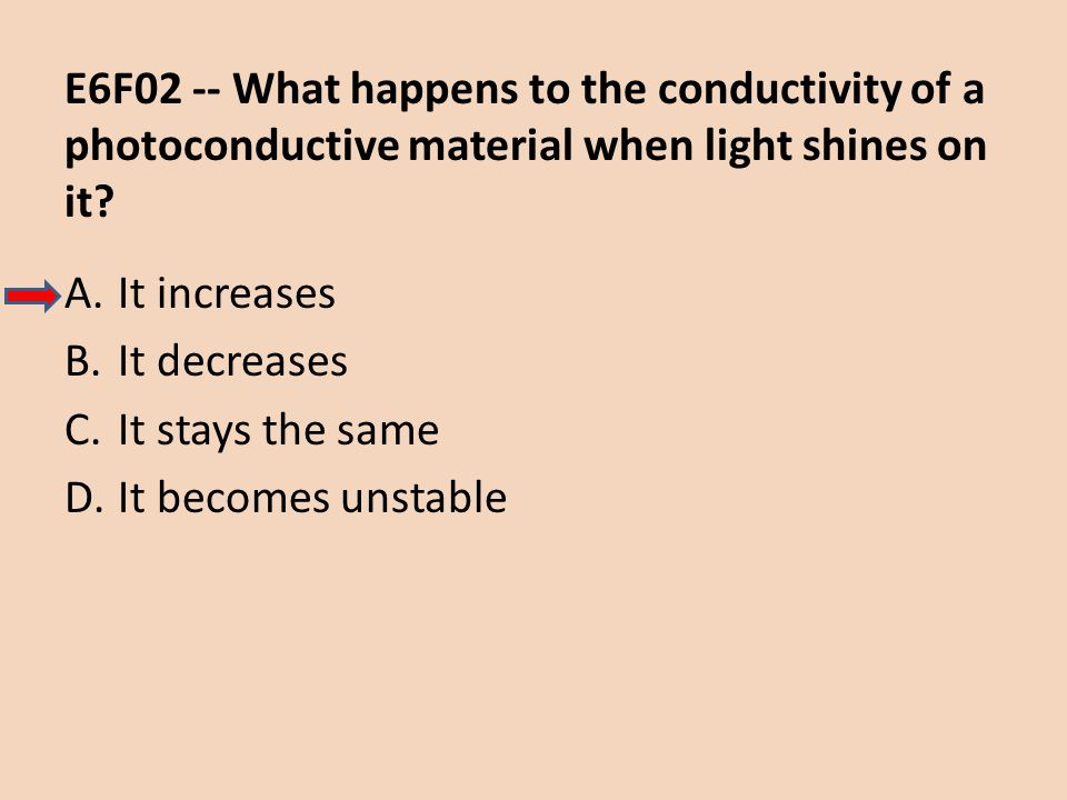 E6F02 -- What happens to the conductivity of a photoconductive material when light shines on it
