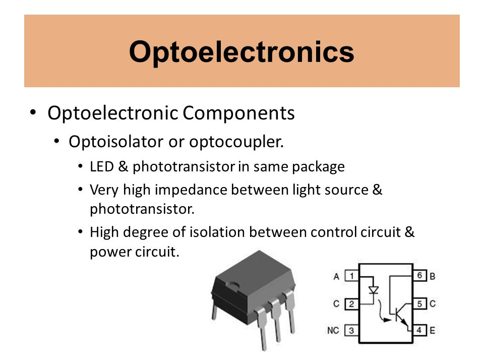 Optoelectronics Optoelectronic Components Optoisolator or optocoupler.