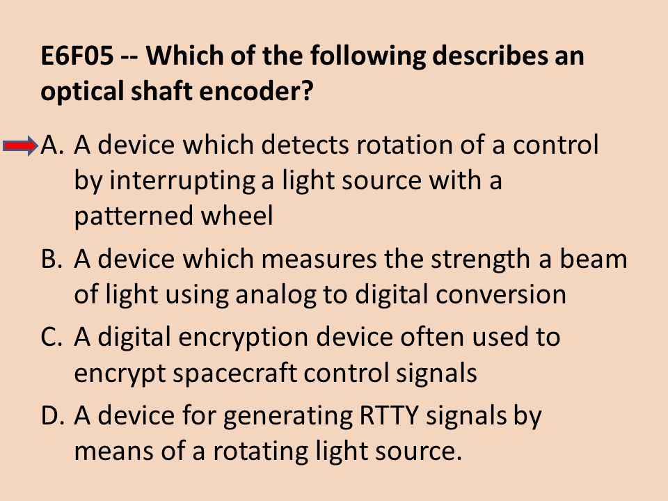 E6F05 -- Which of the following describes an optical shaft encoder