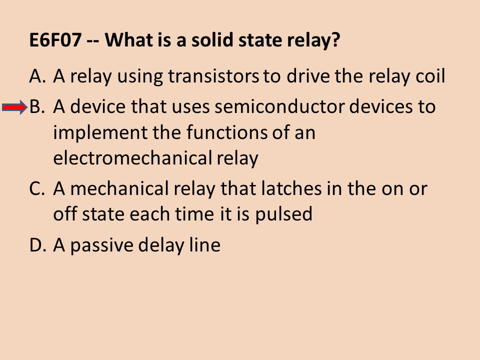 E6F07 -- What is a solid state relay