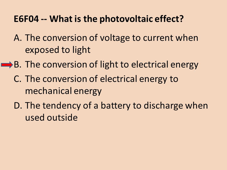 E6F04 -- What is the photovoltaic effect