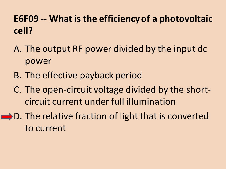E6F09 -- What is the efficiency of a photovoltaic cell