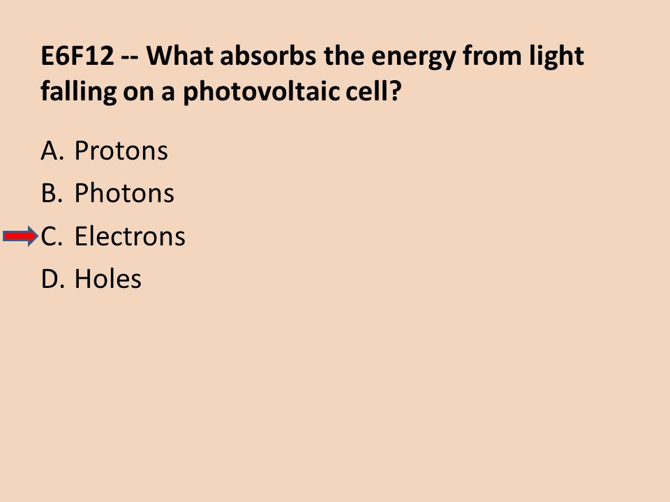 E6F12 -- What absorbs the energy from light falling on a photovoltaic cell