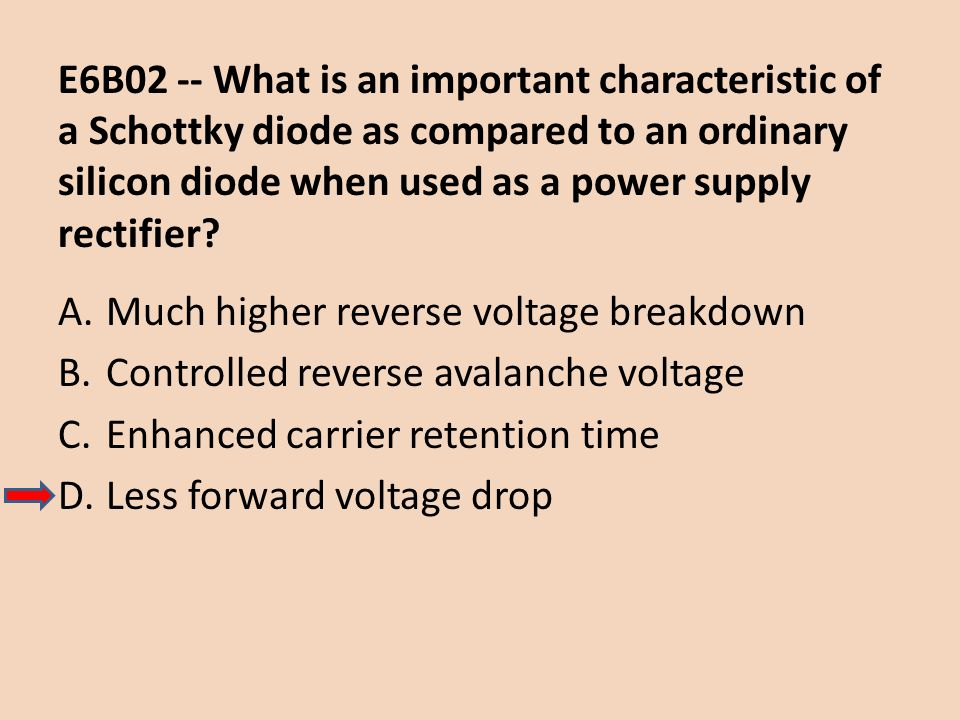 E6B02 -- What is an important characteristic of a Schottky diode as compared to an ordinary silicon diode when used as a power supply rectifier