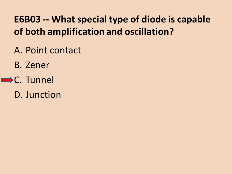 E6B03 -- What special type of diode is capable of both amplification and oscillation