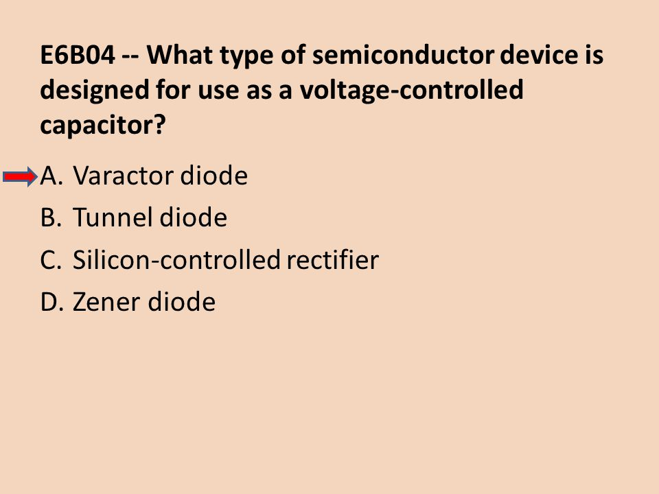 E6B04 -- What type of semiconductor device is designed for use as a voltage-controlled capacitor