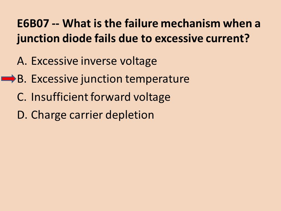 E6B07 -- What is the failure mechanism when a junction diode fails due to excessive current