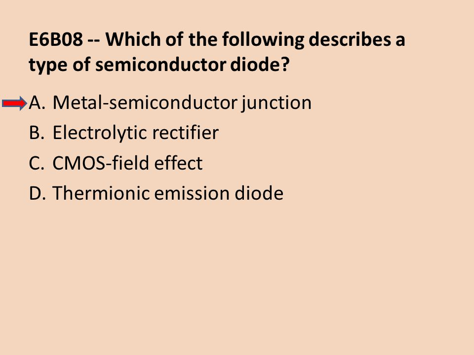 E6B08 -- Which of the following describes a type of semiconductor diode