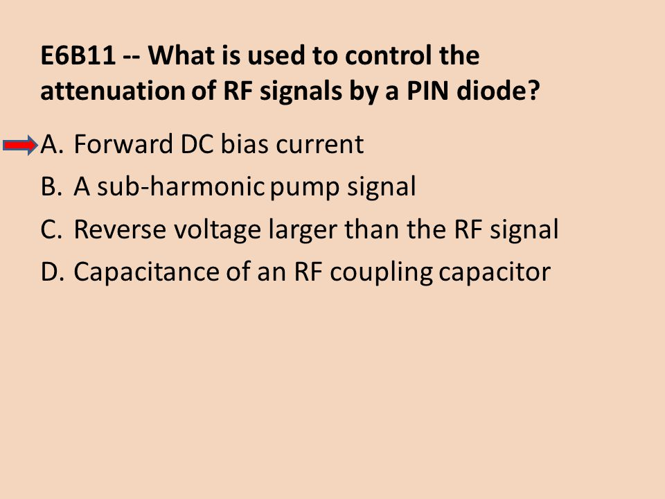 E6B11 -- What is used to control the attenuation of RF signals by a PIN diode